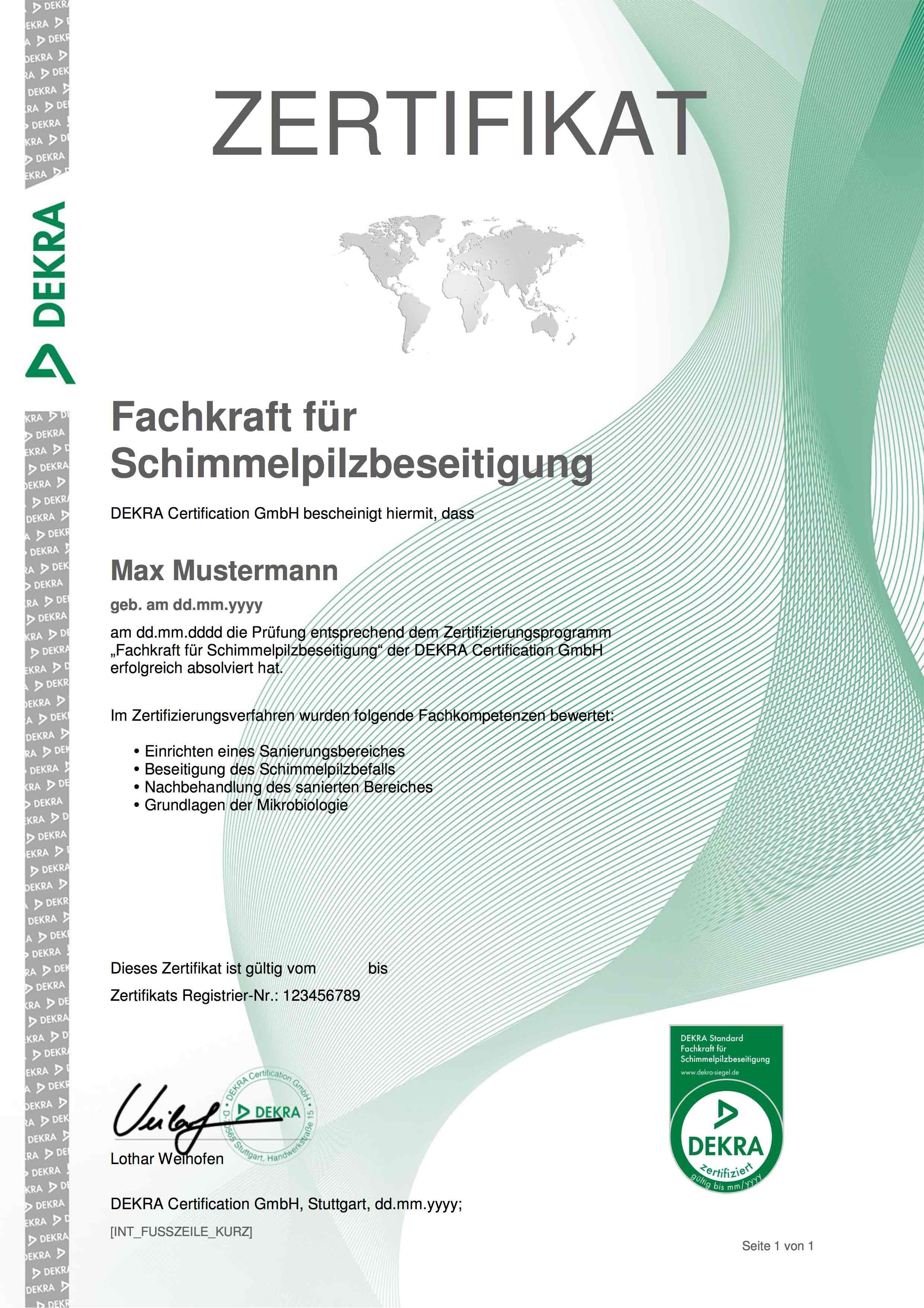 Dekra zertifizierung fachkraft schimmelpilzbeseitigung sachverstndiger schimmelpilzbewertung 1betcityfo Gallery